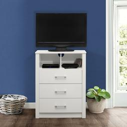 3 Drawer Dresser with Shelf White Wood Chest Small TV Stand
