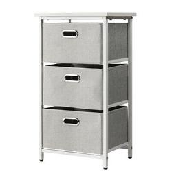 3-Drawer Fabric Dresser Storage Tower Vertical Foldable Pull