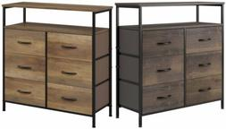 6 Drawer Dresser Chest 2 Tier Wood Shelves Fabric Drawers Or