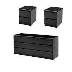 Home Square 3 Piece Bedroom Dresser and Night Stand with Dra