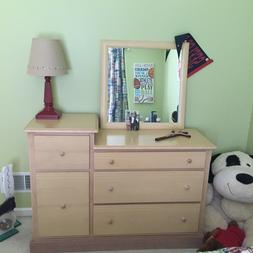 bedroom set includes dresser, chest, book shelf, and toy box