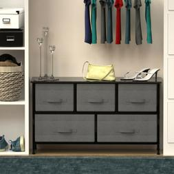Chest of Fabric Drawers Dresser Furniture 5 Bins Bedroom Sto