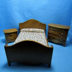 Dollhouse Miniature Walnut Bedroom Set with Bed, Dresser and