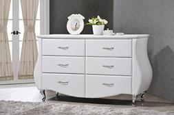 Baxton Studio Enzo Contemporary White Faux Leather 6-drawer