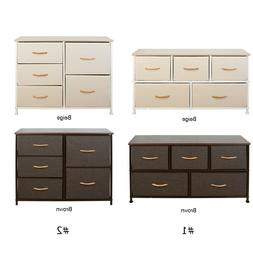 Fabric Chest of Drawers Dresser 5 Drawer Furniture Bedroom C