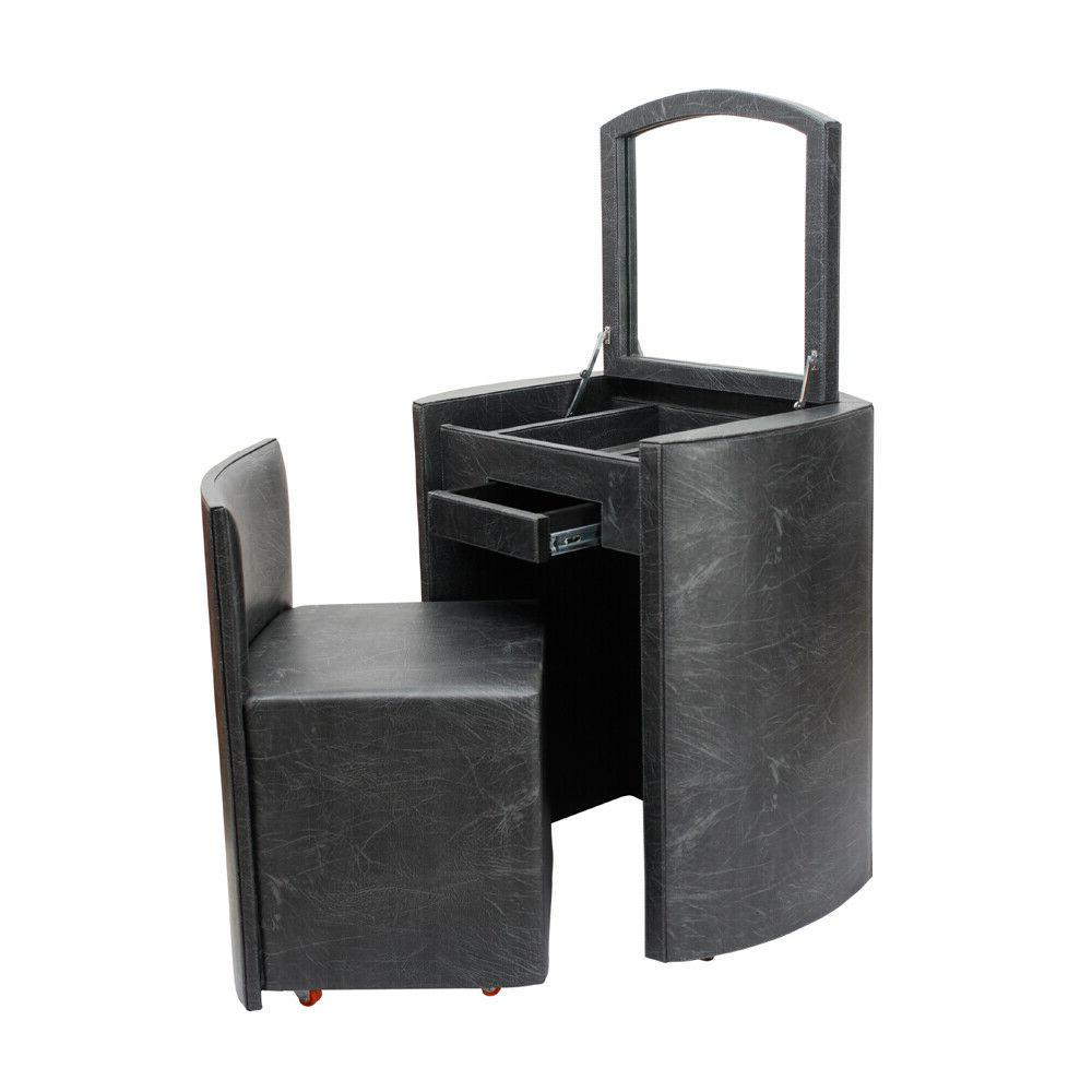 black faux leather home dresser with caster