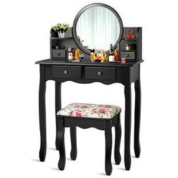 Makeup Vanity Table Set W/Drawers Oval Mirror Girls Gifts Dr