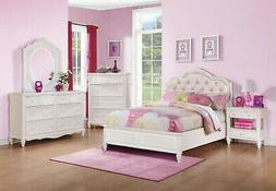 PRETTY WHITE & PINK 4 PC FULL YOUTH STORAGE BED N/S DRESSER