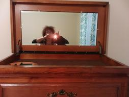 Real Wood Dark Brown Dresser with mirror that lifts up with